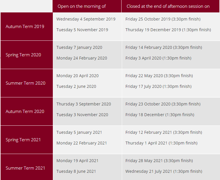 Term dates updated